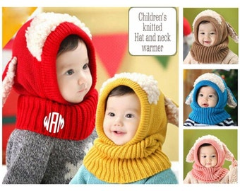 Children's knittedhats / neck warmers / Animal themed knitted hats Monogrammed hats