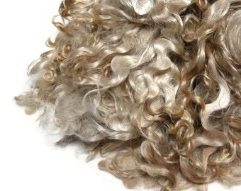 2 oz Premium Kid Mohair wool locks , colour champagne / reddish tips (1B)