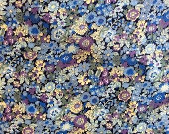 High quality cotton poplin, blue indigo floral print