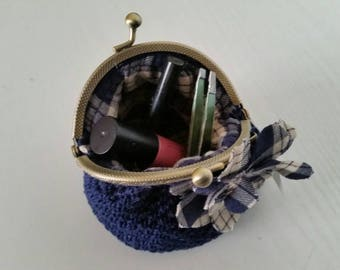 Wallet/make-up bag/coin purse with snap closure-Handmade in Italy-