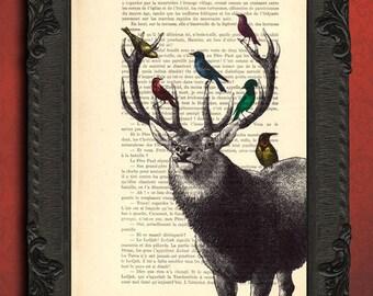 Deer with birds print deer head and birds art print stag head print