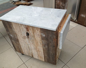 Awesome Reclaimed Wood Rolling Bar Kitchen Island With Marble Top