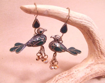Tribal Bird brass hook earrings -- old Kuchi jewelry -- heavy patina