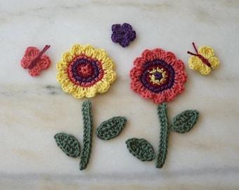 my flower garden hand made crochet (11 pieces)