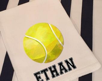 Personalized Sports Tennis White Flour Sack Hand Towel Boys Girls Bathroom Hand Towel Birthday Party Favor Sports Gift