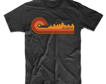 Retro Style Salt Lake City Utah Skyline T-Shirt