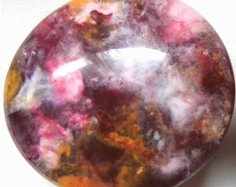 custom made One of a Kind Furniture and Cabinet Knobs-Dark pink, yellow and white marbleized