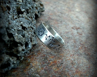 Dandelion wish ring, sterling silver band ring, dandelion band ring