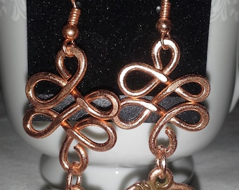 Copper Squiggles With Hearts E 175