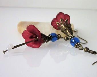 Beaded Flower Earrings, Wine Red,  Lucite Flower, Antiqued Brass Filigree, Beaded Earrings, Calla Lily Flower Blossom, Dangle Earrings