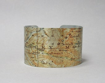 Cuff Bracelet Rocky Mountain National Park Colorado Map Hiking Camping Gift for Men or Women
