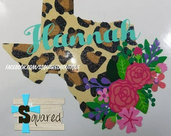Glitter Leopard Texas Floral Name Decal