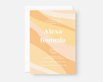 Colorful Bridal Shower Invitation / Modern Bridal Shower Invitation / Orange Party Invitation / Couples Baby Shower, Adoption Shower Invite
