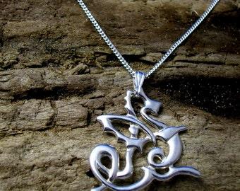 Celtic Dragon pendant, Silver Dragon necklace, Dragon jewelry, Welsh dragon, Art Nouveau Dragon, Celtic Knot, Fantasy jewelry, Dragon Gifts.