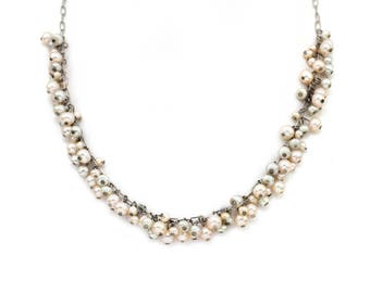 Blush Freshwater Pearl Cluster Necklace Delicate Necklace