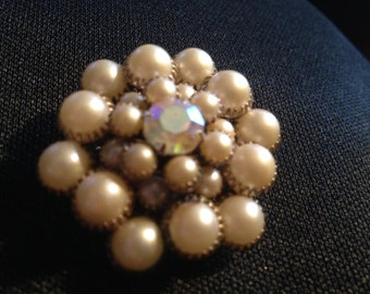 Vintage Faux Pearl and Rhinestone Brooch Pin