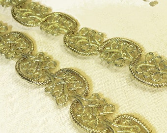 Metallic Trim Gold Scroll Braid Trim for Craft Upholstery Costuming Sewing Fancy Gimp Trim – 1 yard
