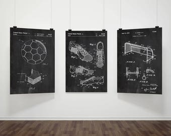 PATENT Soccer Prints Set Of 3,Soccer Prints,Soccer Poster,Soccer  Gift,Football Patent Prints,Soccer Wall Art Poster Set,Soccer Fan Gift#P327