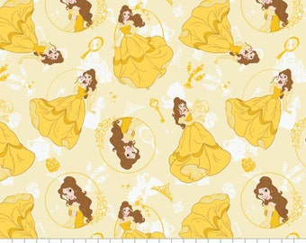 Licensed Disney - Belle - Beauty and the Beast  Fabric in Yellow - you choose the cut