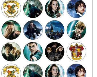 24 Precut 40mm Circle Harry Potter Themed Edible Wafer Paper Cake Cupcake Toppers