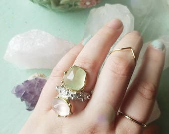 Rose Quartz and Prehnite Sterling Silver Ring size 8 gold plating 14k