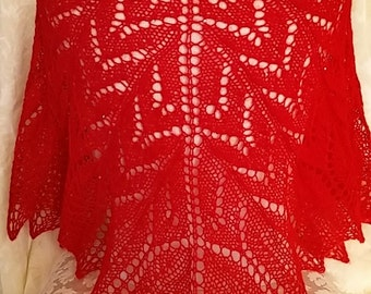 Hand Knit lace shawl in Red Wool blend with mini sequins