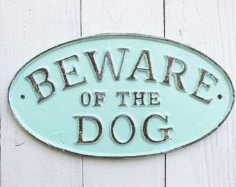 DOG Puppy Sign , Beware of Dog Sign, Vintage Inspired Sign, Aquamarine Decor, Retro, Man Cave, Large Dog Sign, I Love My Dog,Rustic Dog Gate