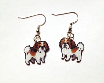 Shih Tzu Dog Puppy Earrings Handcrafted Plastic Earrings Jewelry Accessories Fashion Novelty Unique Gift Gifts for Her