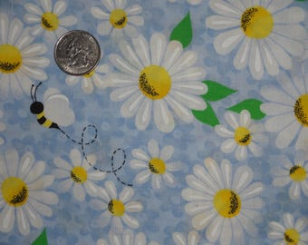"Flowers Daisy Daisies Bees Blue Yellow Floral Cotton Fabric 1 yard + 34"" inches"