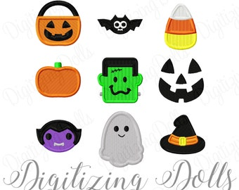 Mini Halloween Solid Fill Set Embroidery Designs 2x2 Vampire Bat Pumpkin Witch Hat Candy Corn Ghost INSTANT DOWNLOAD