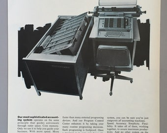 1967 Burroughs Print Ad - Electronic Accounting Systems - Core Memory - 60s Technology - Computer Technology