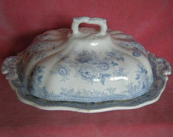 Burgess and Leigh Asiatic Pheasants Blue and White Transferware Tureen & Cover 1880s Antique
