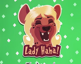Lady HaHa Hyena Sticker, Illustrated Vinyl Die Cut Sticker with a Cute, Cartoon Animal Design - Great for cellphones and tablets