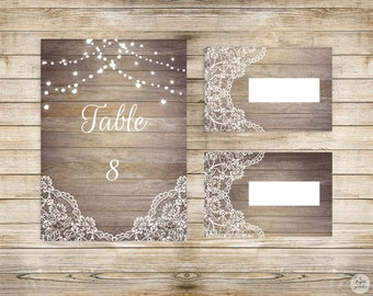 Country collection - number place card Table - wedding invitation