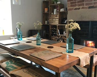 Industrial Mill Reclaimed Wood Dining Table And Benches