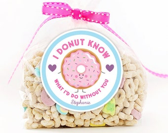 Personalized Stickers I Donut Know What I'd Do Without You Valentine Party Stickers, Valentine Circle Stickers, Valentine Donut Stickers