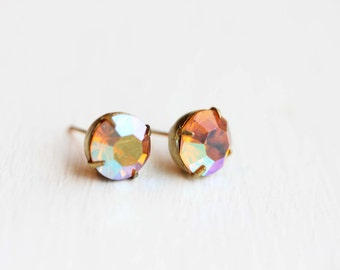 Rose Crystal Studs, Pink Crystal Studs, Crystal Studs, Bridesmaid Studs, Mirror Studs, Faceted Stone Studs, Vintage Crystal Studs, Studs