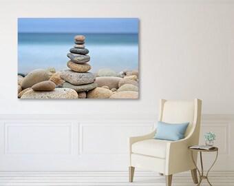 Beach Decor, Large Canvas Wall Art, Coastal Artwork, Ocean Photography Rocks Stones Cairns Martha's Vineyard Photo Large Wall Art Blue Beige
