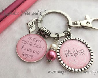 PERSONALIZED FRENCH TEACHER Key Chain, Teacher Necklace, Touch Lives, Teacher Gift, School, Supply Teacher, Educational Assistant MT15
