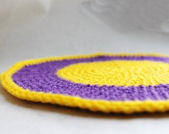 Crochet eco friendly trivet hot pad - purple - yellow