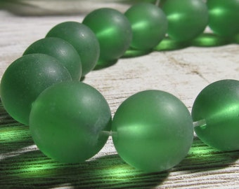 Sea Glass Beads 12mm Smooth Frosted Semi Transluscent Pine Green Rounds - 10 Pieces