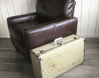 """Mid Century Metal Sided Suitcase, Small Trunk """"Great for Stacking, Storage or Side Table"""""""