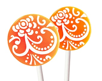 Party Gifts, Party Favors, Baby Shower, Birthday Party Candy - Mango Tangerine - 8 Lollipops with Ribbon