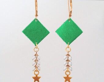 Agathe and Ana - metallic green leather, Spike and gold metal chain - spike earrings