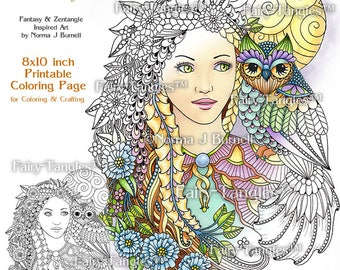 Moonlight Fairy Owl Fairy Tangles Printable Coloring Book Pages by Norma J Burnell 8x10 Coloring Book Sheets for adult & Digital Coloring