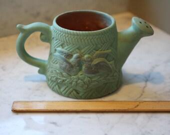 Verdi Gris Lovebird Pottery Pitcher Vase