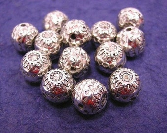 12pc 9mm acrylic antique silver finish  round fancy beads-1029
