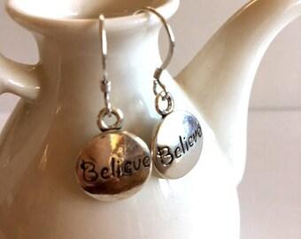 Sterling Silver Earrings-Believe Silver Earrings