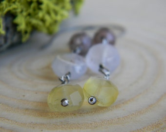 chalcedony and lepidocrocite earrings - oxidized silver