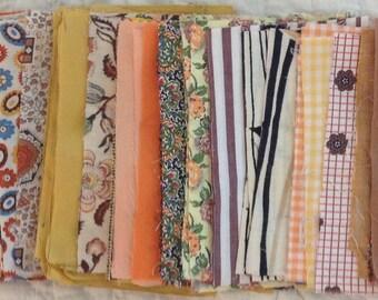 "Vintage 3 1/2"" x 5 1/2"" gold/orange/brown rectangle fabric pieces for repurposing - 8 ounces - various cotton types"